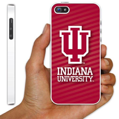Indiana University - iPhone 5 Case - IU Stripe Background Design - White Protective Hard Cas