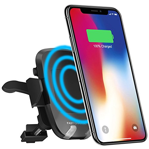 Wireless Car Charger, iPosible Fast Charge Phone Holder with Air Vent for Car, Qi Charger Car Mount for Samsung Galaxy S8/S8+, S7 Edge/S7, Note 8 5,Standard Charging for iPhone X, 8/8 Plus& Qi Enabled by iPosible
