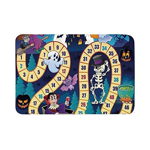 C COABALLA Board Game Durable Door Mat,Halloween Theme Symbols Happy Witch Girl Vampire Ghost Pumpkins Happy Comic for Living Room,17.7