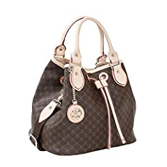 The bag is available in several attractive colors. Made of high quality soft artificial leather. Handles and trim are genuine cow leather. Bag interior is well made with convenient compartments.