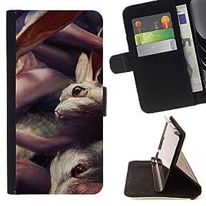Momo Phone Case / Flip Funda de Cuero Case Cover - Conejos lindos;;;;;;;; - HTC One Mini 2 M8 MINI