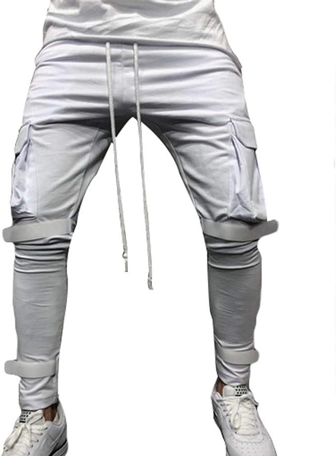 Pantalones Casuales para Hombres Bolsillo Gimnasio Pantalones ...