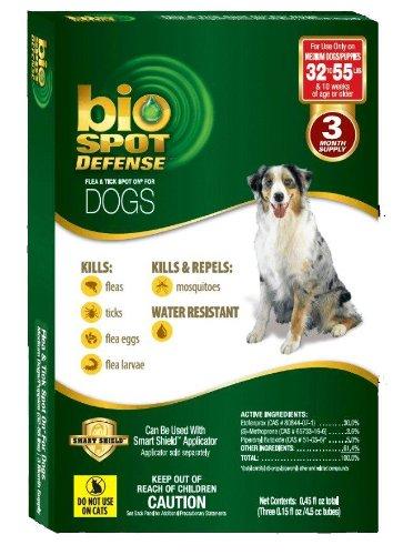 Dog Defense Bio Spot - BioSpot Defense Flea and Tick Spot with Smart Shield Applicator Refill for Dogs 32 to 55-Pound