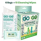 Go On The Go Disposable Urinal and Vomit Bags for Female and Male, Take Along for Travel, Traffic, Hiking or Camping - 6 Urinal/Vomit Bags Bonus 15 Cleansing Wipes Included