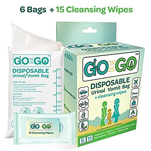 Go On The Go Disposable Urinal and Vomit Bags for Female and Male, Take Along for Travel, Traffic, Hiking or Camping - 6 Urinal/Vomit Bags Bonus 15 Cleansing Wipes Included -
