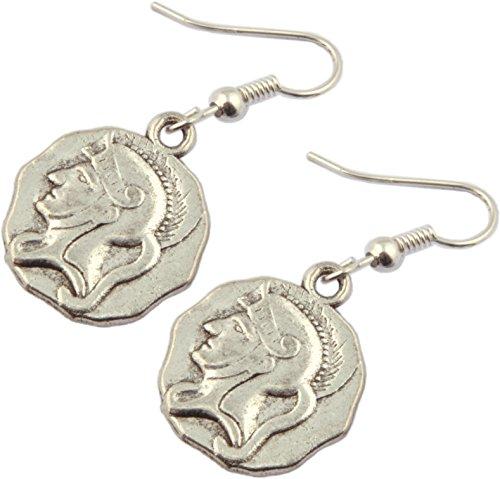Earrings, Replica Roman Coin Silver Colored Dangle Earrings + FREE GIFT BAG (Roman Coin Earrings)