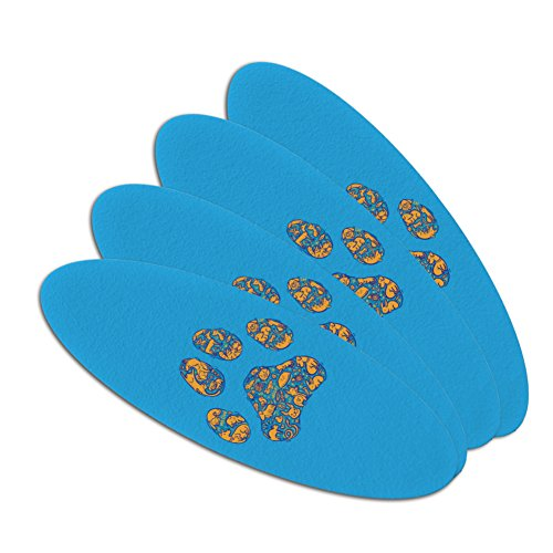 Pets Paw Print with Dog Cat Animal Details Double-Sided Oval