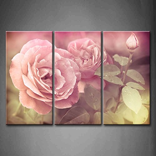First Wall Art - 3 Panel Wall Art Pink Abstract Romantic Pink Roses