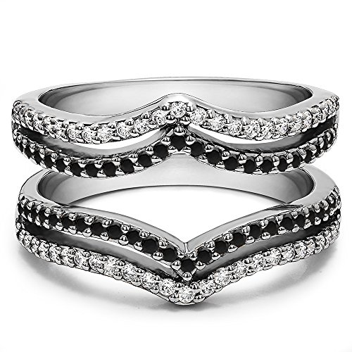 0.5 ct. Black And White Cubic Zirconia Double Row Chevron Style Ring Guard in Sterling Silver (1/2 ct. twt.)