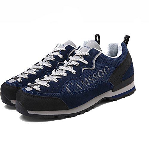 Outdoors Leather Anti Casual Running Mens slip CAMSSOO Walking Shoe Hiking Mesh Blue 5qxwAWgX
