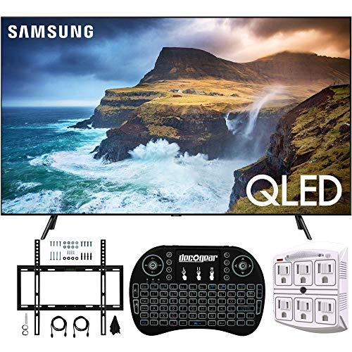 Samsung QN82Q70RA 82″ Q70 QLED Smart 4K UHD TV (2019 Model) (Renewed) w/Flat Wall Mount Kit Bundle for 45-90 TVs + 2.4GHz Wireless Backlit Keyboard Smart Remote + 6-Outlet Surge Adapter