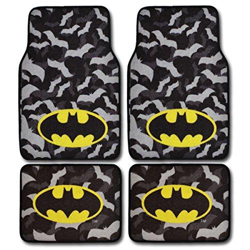 BDK WBMT2301 Black/Gray Batman Carpet Floor Mats 4 Piece Set - New Design Version Offical Licensed Product