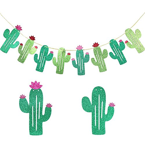 Fiesta Cactus Banners Summer Theme Wedding Parties Supplies Decorations Double Sided Cactus Banner Pennant Tropical Party Birthday Party Festival Luau Hawaii childrens Party Decoration