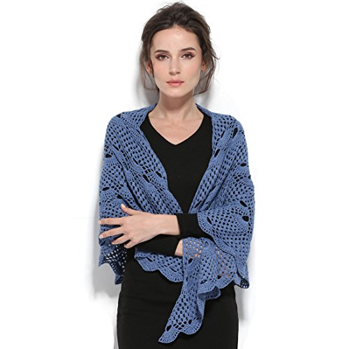 - ZORJAR Women Wool Knitted Scarf Crochet Triangle Fashion Scarf New Design(Blue)