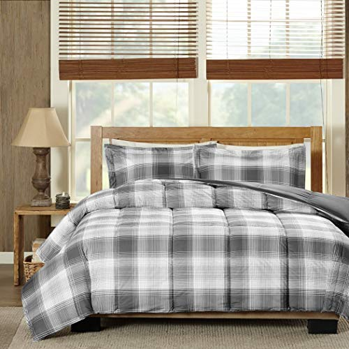 MS 3pc Grey Plaid Full Queen Comforter Set, Gray Checked Checkered Bedding Tartan Madras Lumberjack Stripes Line Pattern Squares White Black Cabin Lodge Theme, Striped Soft, ()