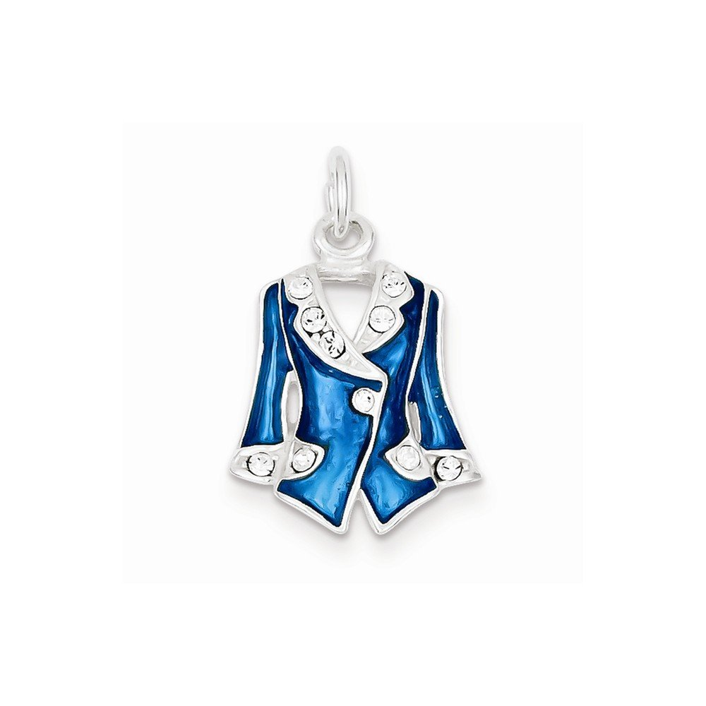 Sterling Silver Blue Enameled And Crystal Jacket Charm