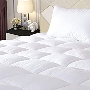 """ONESHINE Mattress Pad Protector Queen Size, Hypoallergenic Quilted Fitted Sheet Cooling Topper, Microfiber Front & Down Alternative Fill, 8-21"""" Deep Pocket, Breathable Bed Cover"""