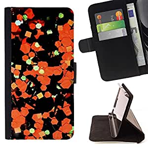 Momo Phone Case / Flip Funda de Cuero Case Cover - Arte Abstracto Papel Naranja Negro - Samsung Galaxy A5 ( A5000 ) 2014 Version