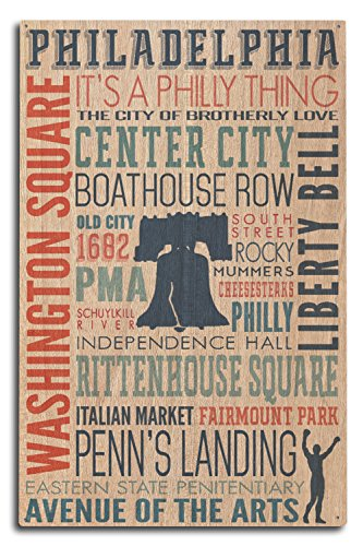 Lantern Press Philadelphia, Pennsylvania - Typography with Boxer Silhouette (10x15 Wood Wall Sign, Wall Decor Ready to Hang) ()
