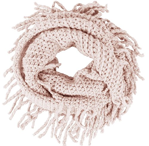 Women's Winter Warm Crochet Knit Fringe Infinity Loop (Knit Fringe Scarf)