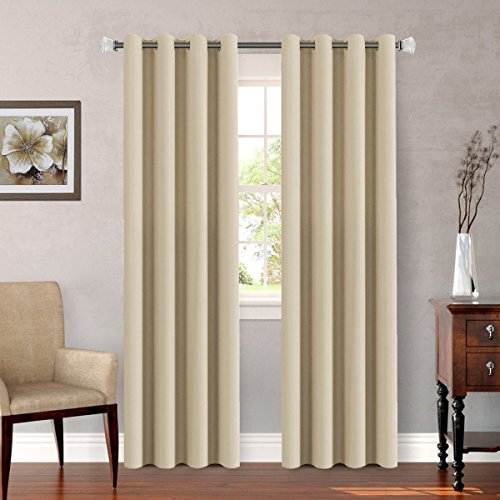 Untra Sleep Well Microfiber Blackout Thermal Insulated Curtains for Bedroom / Living Room Decorative Grommet Window Panels Drapes (Set of 2, Beige, 52 x 96 Inch) (Panels Window Decorative)