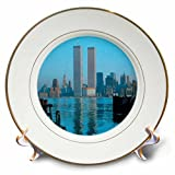 3dRose cp_16862_1 Vintage Twin Towers Ii Porcelain Plate, 8''