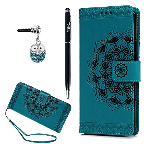 Galaxy S9 Plus Case, 3D Relief Embossed Mandala Pattern PU Leather Soft TPU Inner Card ID Holder Wrist Strap Stand Magnetic Folio Flip Wallet Cover with Dust Plus Stylus Pen (Custom Magnetic Buttons)