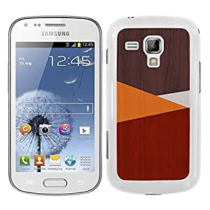 Funda carcasa para Samsung Galaxy Trend diseño efecto madera color rojo borde blanco