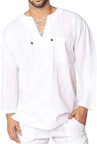 Camisas Lino Tradicionales para Hombres Manga Larga Cuello En V Casual Blusa Suelta Camisetas: Amazon.es: Ropa y accesorios