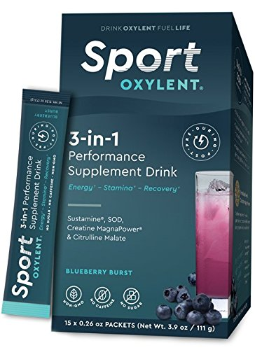 Sport Oxylent, 3-in-1 Performance Supplement Drink, Blueberry Burst, 15 Packet Box