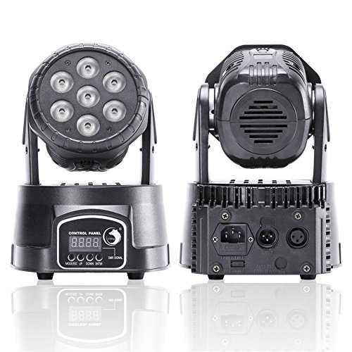 U`King Moving Head Light 7LEDx10W 4 Color RGBW with 5 Control Mode for Party DJ Disco Beam Lighting