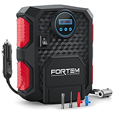 FORTEM Portable Digital Electric Car Auto Air Compressor Vehicle Tire Inflator Pump Easy To Store 12V DC 150PSI – Auto Shut Off – 3 Attachments – BONUS Carrying Case