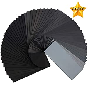Sandpaper,120 To 3000 Assorted Grit Wet or Dry 9 x 3.6 Inches Automotive Polishing Wood Furniture Finishing(84 PCS)