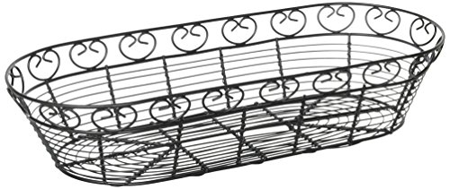 Winco WBKG-15 Oblong Wire Bread Basket, 15-Inch x 6.25-Inch x 3-Inch, Black