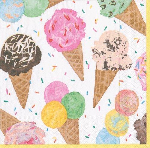 Kids Birthday Party Supplies Ice Cream Party Paper Napkins Scoop Pk 40 -