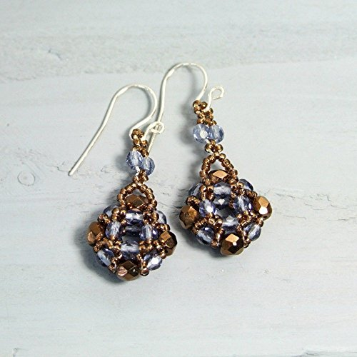 Brown and Blue Small Czech Glass Earrings with Handcrafted Sterling Silver Earwires (Small Glass Czech)