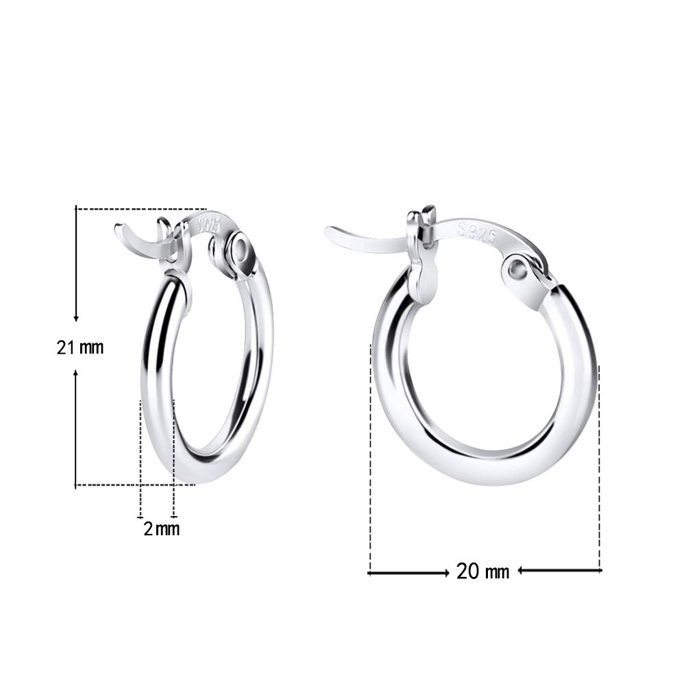 Rose Gold Silver for Women Girls Small Clasp Hoop Earrings in Gold Sterling Silver Hoop Earrings