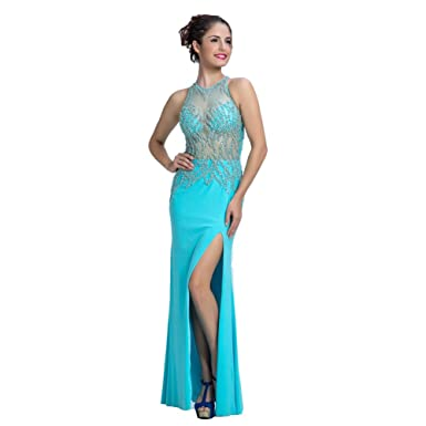 Lemai Womens Chiffon Sheer Beaded Front Slit Hunter Long Formal Evening Prom Dresses - Green -