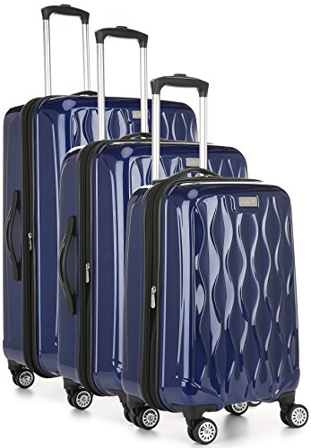 Antler Liquis 3-Piece Expandable Hardside Upright Luggage Spinner Set: 28'', 24'', and 21'' (Blue) by Antler