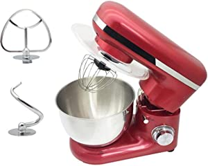 Mixers Food Stand Mixer 6 Different Speed Settings 4L Stainless Steel Mixing Bowl Dough Hook Stir Stick For Cake Dessert Mixer Electric Mixer Red Household Stand Mixers