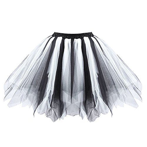 Ellames Women's Vintage 1950s Tutu Petticoat Ballet Bubble Dance Skirt Black-White (Vintage Halloween Black And White)