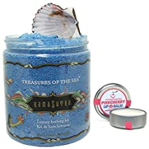 Kama Sutra Treasures of the Sea Luxury Bathing Kit in 24.5 Ounces Bubble Bath - Blue Non Staining Bath Salts - Bundle with PinkCherry It's The Balm Lip Balm in 0.45 Ounces (2 Items)