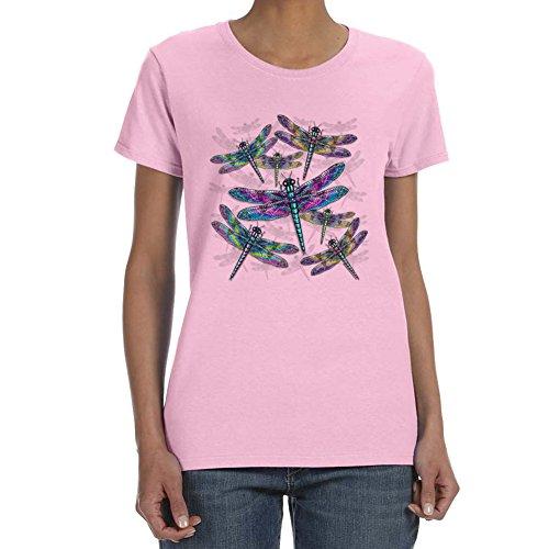 Women's DRAGONFLIES Light Pink T-shirt (Medium)