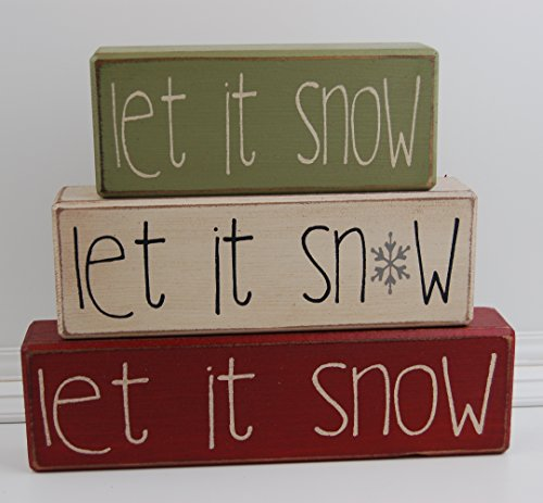 Let It Snow Snowflake - Primitive Country Wood Stacking Sign Blocks Seasonal Christmas Winter Snowman Home Decor -