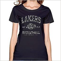 WYKY Women Los Angeles Lakers Camo Stack Basketball Black Short Slev Tee  Tshirt Apparel 81ad1d6f0