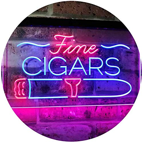 AdvpPro 2C Fine Cigars Shop Smoking Room Man Cave Dual Color LED Neon Sign Blue & Red 16
