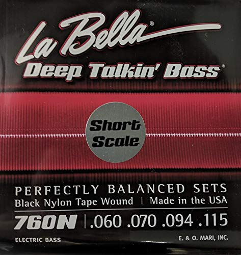 (LaBella 760N-S Short Scale Deep Talkin' Bass String Set - Black Nylon Tape Wound )
