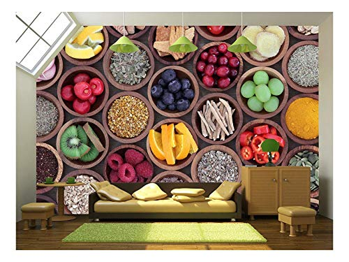 - wall26 - Health and Super Food to Boost Immune System - Removable Wall Mural | Self-Adhesive Large Wallpaper - 100x144 inches