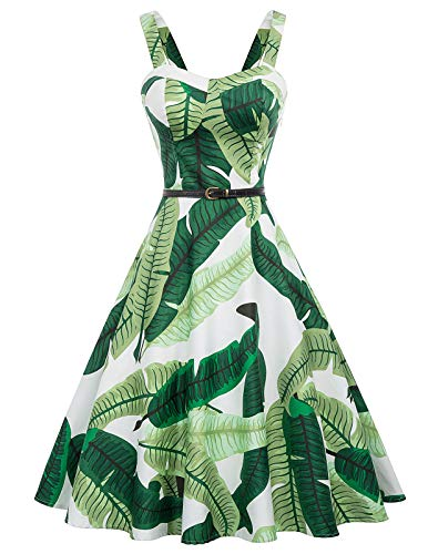 Belle Poque Plus Size Green Floral Print Tea Dresses for Women, Leaf Print, XX-Large