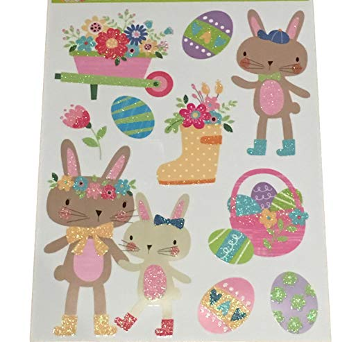 Plum Nellie's Treasures Easter Window Decals Glitter Stickers - Easter & Spring Decorations - Bunnies, Eggs, Chicks & Truck of Carrots (Happy Easter Bunny Egg - Happy Sticker Measures Bunny